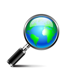 Magnifying glass with earth globe isolated on vector image vector image