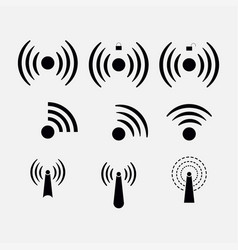 set icons wi-fi wireless network coverage vector image vector image