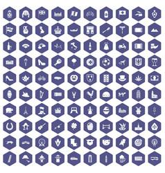 100 europe icons hexagon purple vector image