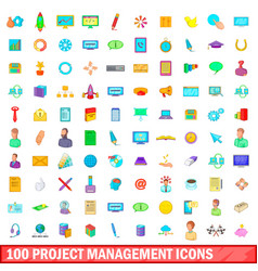 100 project management icons set cartoon style vector image
