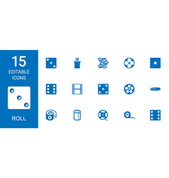 15 roll icons vector