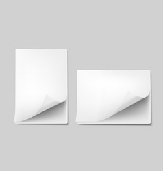 3d curled blank a4 paper sheets with shadow vector