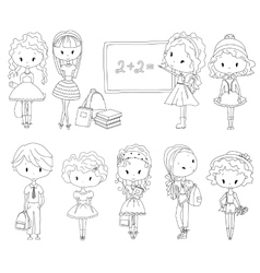 Adult Coloring book pupil School children vector