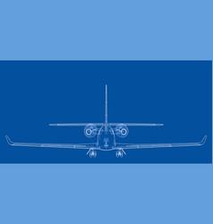 Airplane blueprint vector