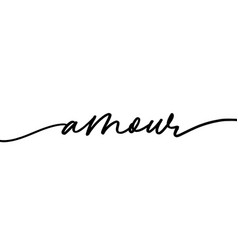 Amour monochrome hand drawn lettering vector