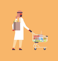 Arabic man carrying shopping cart purchase paper vector