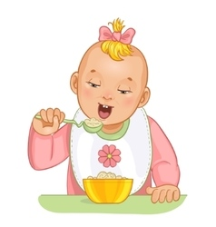 Baby girl with spoon and plate vector image