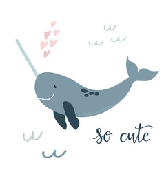 Baby print with blue narwhal hand drawn graphic vector
