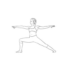 Beautiful woman doing yoga sketch black on white vector