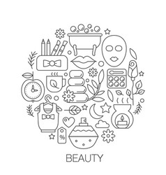 beauty cosmetics in circle - concept line vector image