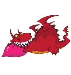 big dragon with heart vector image