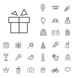 Birthday outline thin flat digital icon set vector