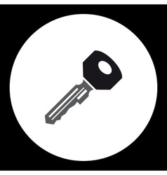 black isolated simple modern door key icon eps10 vector image