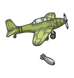 Bomber plane drops bomb color sketch engraving vector