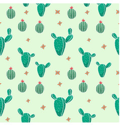 Botanicals pattern cactus green background vector