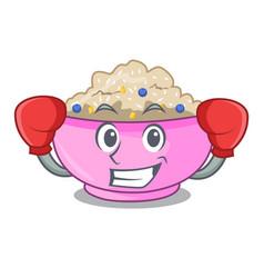 Boxing character a bowl of oatmeal porridge vector