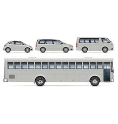 bus minivan and car side view mockup vector image