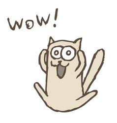 cartoon cat tik screaming wow vector image