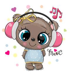 Cartoon teddy bear girl with pink headphones on a vector