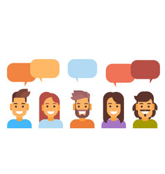 casual people group chat bubble media vector image