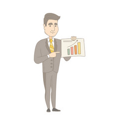 Caucasian businessman showing financial chart vector