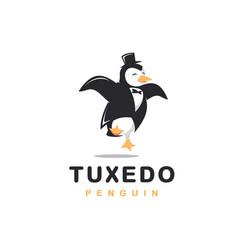cheerful tuxedo penguin logo cartoon vector image