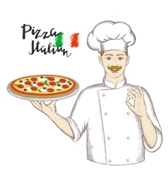 Chef holding a dish with pizza and giving an okay vector image vector image