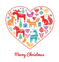 christmas scandinavian elements in heart vector image