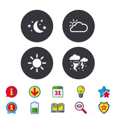 Cloud and sun icon storm symbol moon and stars vector
