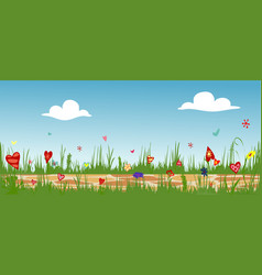 cobbled path through blooming flower field vector image