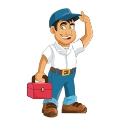Construction or industrial worker holding toolbox vector