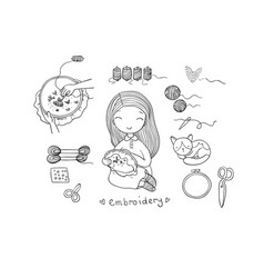 Cute cartoon girl embroiders a beautiful pattern vector