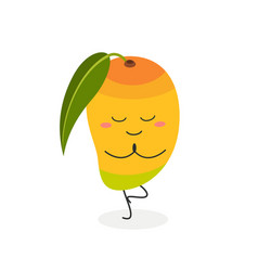 cute cartoon mango practicing yoga vector image