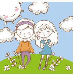 Cute couple girls friends colorful nature vector
