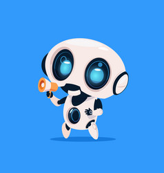 cute robot hold megaphone isolated icon on blue vector image