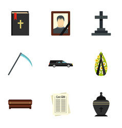 Death icons set flat style vector