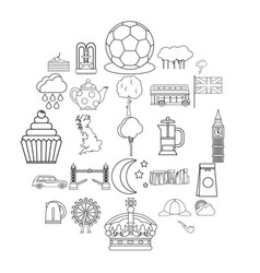 detached house icons set outline style vector image