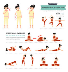 Exercise for muscle pain infographic vector