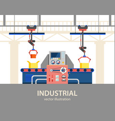 factory or plant automated line with control box vector image