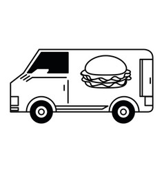 fast food delivery black and white vector image