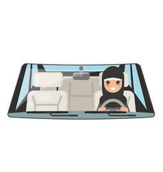 female arab driver vehicle interior car wheel ride vector image