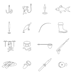 Fishing icon set outline style vector image