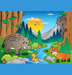 Forest scene with various animals 3 vector
