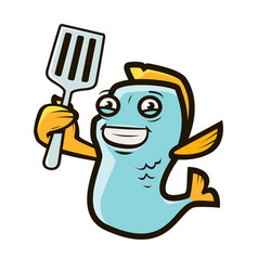 funny fish holding spatula seafood cooking food vector image