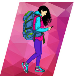 girl with a tourist backpack vector image
