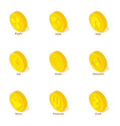gold coin icons set isometric style vector image