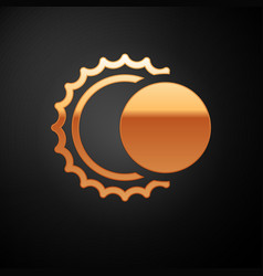 Gold eclipse sun icon isolated on black vector