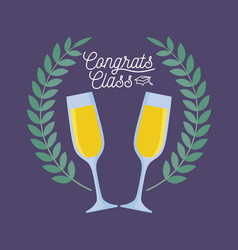 Graduation class celebration card with cups of vector