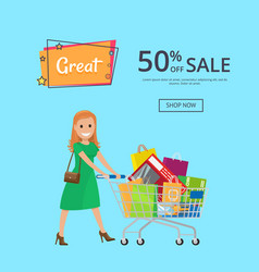 great inscription 50 off sale poster with shop now vector image