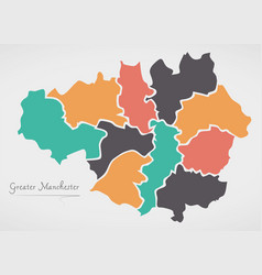 Greater manchester england map with states and vector